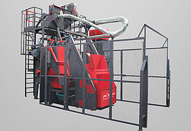 Tumble belt blast machine RMBC 4.2 for processing bulk material for automatic parts handling
