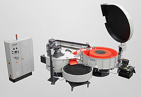 Long Radius with automatic piece feed, noise dampening cover, downstream round dryer and storage swing table